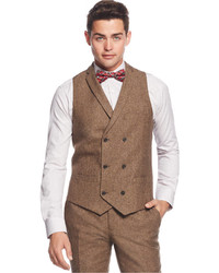 Bar III Brown Tweed Slim Fit Vest Only At Macys