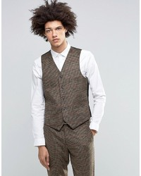 Gianni Feraud Heritage Premium Wool And Cashmere Blend Brown Check Vest