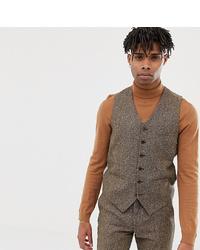 Heart & Dagger Slim Waistcoat In Camel Wool