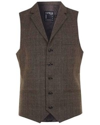 Topman Brown Check Suit Vest With Notch Collar