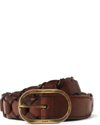 Saint Laurent 25cm Brown Braided Leather Belt
