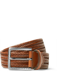 Hugo Boss 35cm Brown Semyo Woven Leather Belt