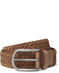 Tod's 35cm Brown Woven Suede And Textured Leather Belt