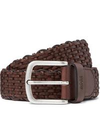 Hugo Boss 35cm Dark Brown Woven Leather Belt