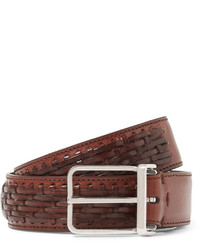Brunello Cucinelli 3cm Brown Cross Hatch Woven Leather Belt