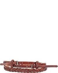 Braiden Woven Skinny Leather Belt