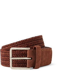 Loro Piana Brick 45cm Leather And Suede Trimmed Woven Belt