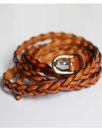 ChicNova Brown Skinny Leather Braided Waistband