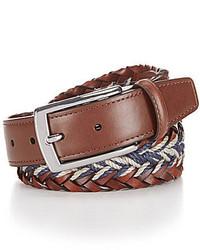 Daniel Cremieux Cremieux Braided Leather And Linen Belt