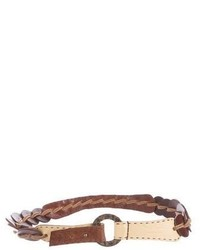 Leather woven belt medium 6842582