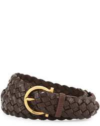 Woven leather gancini belt medium 387766