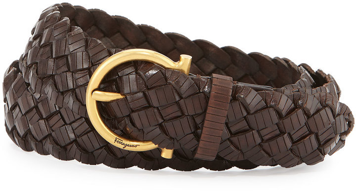 Salvatore Ferragamo Woven Leather Gancini Belt