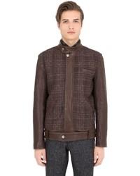 Trussardi Woven Leather Moto Jacket