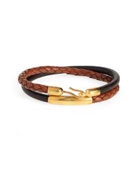Caputo & Co Braided Leather Wrap Bracelet
