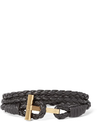 Tom Ford Woven Leather And Gold Plated Wrap Bracelet