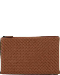 Brown Woven Leather Clutch