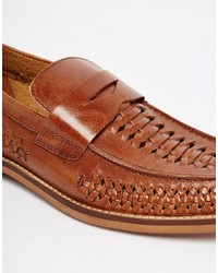087e3b758b58e Asos Brand Penny Loafers In Woven Tan Leather, $73   Asos ...
