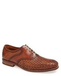 Brown Woven Leather Oxford Shoes