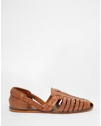 Asos Brand Woven Sandals In Tan Leather