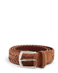 Brown Woven Suede Belt