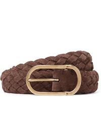 Brunello Cucinelli 35cm Brown Woven Suede Belt