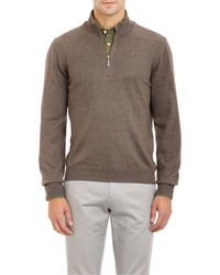 Barneys New York Half Zip Sweater Brown