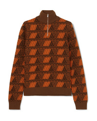 Prada Intarsia Wool And Cashmere Blend Sweater
