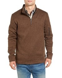 Lance herringbone zip mock neck sweater medium 1139026