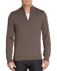 Saks Fifth Avenue Dotted Merino Wool Zip Sweater
