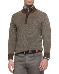 Peter Millar Textured Quarter Zip Pullover Sweater Brown