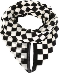 Bufanda a cuadros en blanco y negro de Saint Laurent