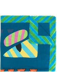 Bufanda con estampado geométrico en verde azulado de Fendi
