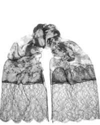 Bufanda con print de flores en blanco y negro de Erdem
