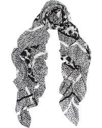 Bufanda con print de flores en blanco y negro de Marc by Marc Jacobs