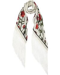 Bufanda con print de flores en blanco y rojo