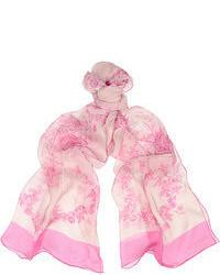 Bufanda con print de flores en blanco y rosa de Valentino
