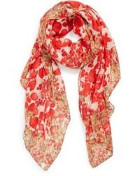 Bufanda con print de flores roja de Tory Burch