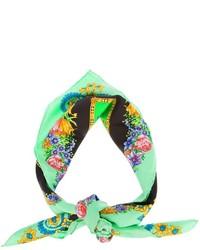 Bufanda con print de flores verde