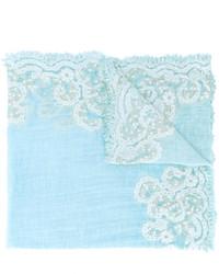 Bufanda de algodón bordada celeste de Faliero Sarti