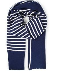 Bufanda de Algodón de Rayas Verticales Azul Marino y Blanca de Sacai