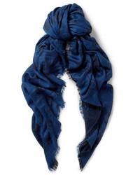Bufanda de algodón estampada azul marino de Alexander McQueen