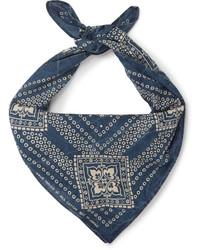 Bufanda de Algodón Estampada Azul Marino