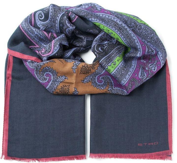 Bufanda de algodón estampada azul marino de Etro
