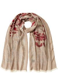 Bufanda de algodón estampada marrón claro