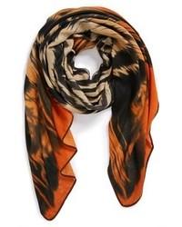 Bufanda de algodón estampada naranja de Roffe Accessories