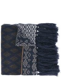 Bufanda de Lana con estampado geométrico Azul Marino de Etro