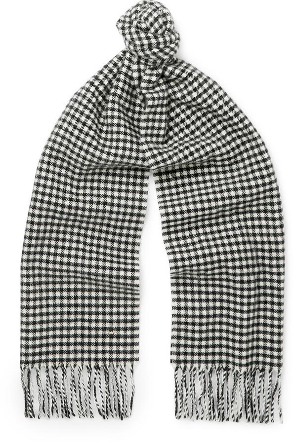 Bufanda de lana de cuadro vichy negra