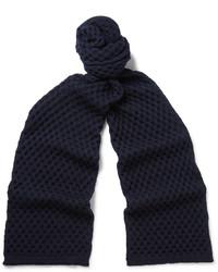 Bufanda de lana de punto azul marino