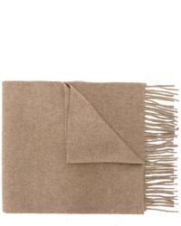 Bufanda de lana de punto marrón claro de Pringle