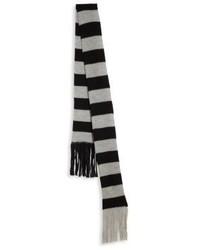 Bufanda de lana de rayas horizontales gris